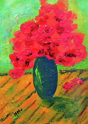 Painting - Romantic Pink Flowers In Morning Light by Haleh Mahbod