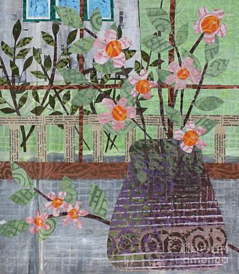 Mixed Media - Pink Flowers In Purple Vase by Janyce Boynton