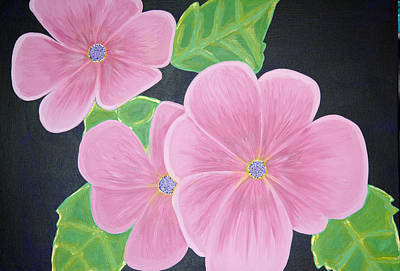Rocca Painting - Pink Flowers On Black Background. by Sarah England-Rocca