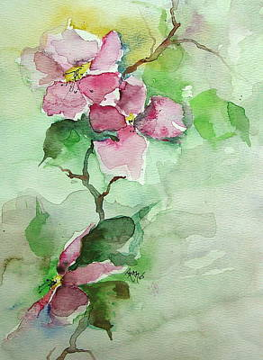 Pink Flowers On Branch Art Print