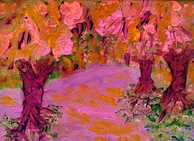 Painting - Pink Forest by Linda Lavid