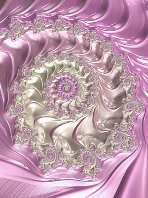 Digital Art - Pink Fractal Spiral Soft And Girly by Matthias Hauser