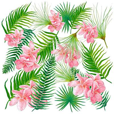 Pink Frangipani And Fern Leaves Art Print by Jan Matson