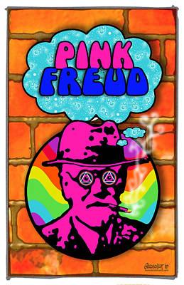 Freud Digital Art - Pink Freud by John Goldacker