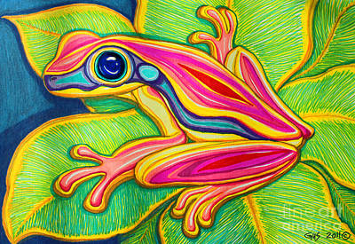 Animals Drawings - Pink Frog on leafs by Nick Gustafson