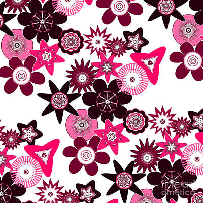 Digital Art - Pink Funky Flowers by Methune Hively