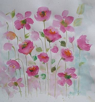 Painting - Pink Garden 1 by Kathy  Karas