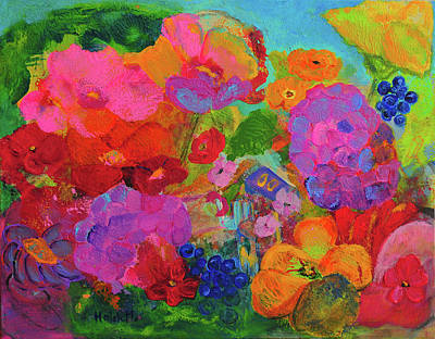 Painting - Pink Garden Fantansy by Haleh Mahbod