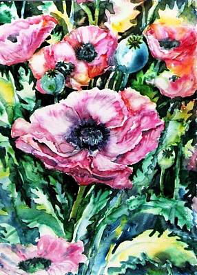 Art Print featuring the painting Pink Garden Poppies  by Trudi Doyle