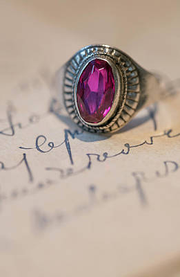 Photograph - Pink Gem Silver Ring by Jaroslaw Blaminsky