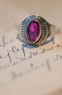 Photograph - Pink Gem Silver Ring by Jaroslaw Blaminsky