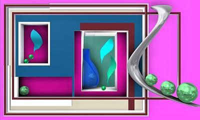 Geometric Art Digital Art - Pink Geometric Scene With Emerald Balls by Alberto RuiZ