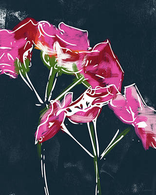 Contemporary Abstract Mixed Media - Pink Geraniums- Art By Linda Woods by Linda Woods