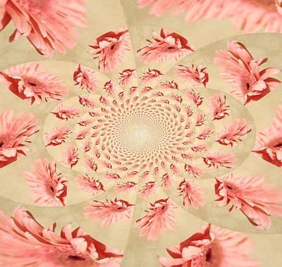 Purple Flowers Digital Art - Pink Gerber Kaleidoscope by Cathie Tyler