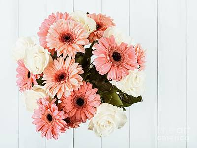 Pink Gerbera Daisy Flowers And White Roses Bouquet Print by Radu Bercan