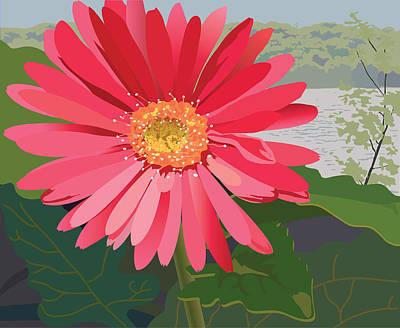 Pink Gerbera Daisy Art Print by Marian Federspiel