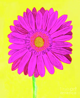 Pink Gerbera On Yellow, Watercolor Art Print
