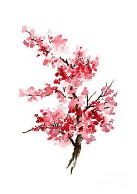 Sakura Painting - Cherry Blossom, Pink Gifts For Her, Sakura Giclee Fine Art Print, Flower Watercolor Painting by Joanna Szmerdt