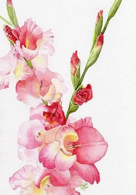 Gladiolas Painting - Pink Gladiola by Linda Hoover