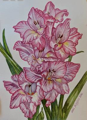 Gladiolas Painting - Pink Gladiolus by Jodi Higgins