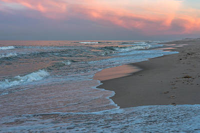 Photograph - Pink Glow Beach Seaside New Jersey by Terry DeLuco