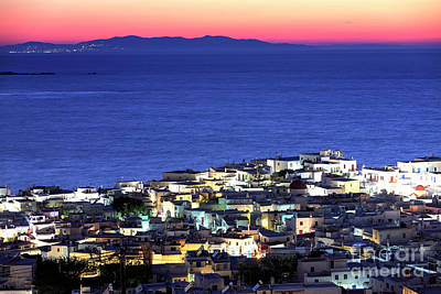 Photograph - Pink Glow In Mykonos At Night by John Rizzuto
