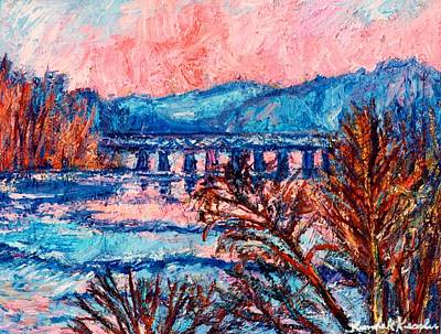 Painting - Pink Glow On The New River by Kendall Kessler
