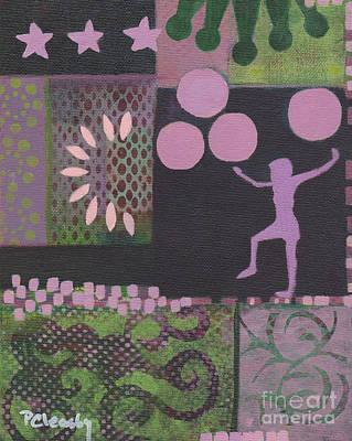 Painting - Pink Green Purple Abstract by Patricia Cleasby