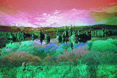 Photograph - Pink Green Waterscape - Fantasy Artwork by Art America Gallery Peter Potter