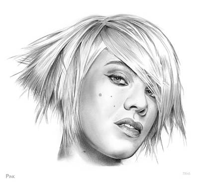 Music Drawing - Pink by Greg Joens