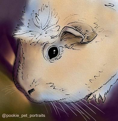 Namaste With Pixels - Pink Guinea Pig  by Pookie Pet Portraits