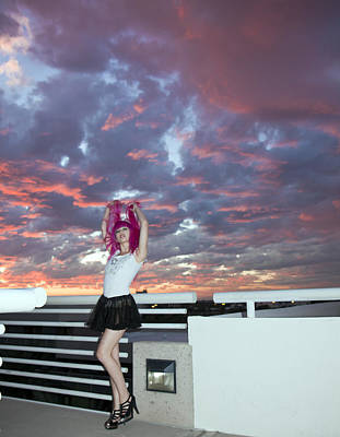 Photograph - Pink Hair - Pink Sunset by Joel Gilgoff