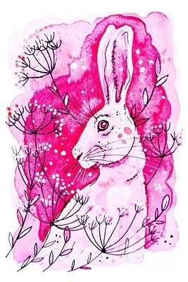 Painting - Pink Hare by Zaira Dzhaubaeva