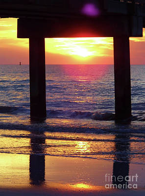 Photograph - Pink Heart Sun Flare Clearwater Sunset by D Hackett