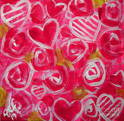 Painting - Pink Hearts And Roses  by Jackie Carpenter