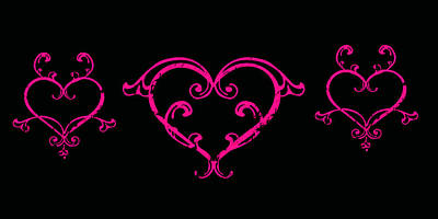 Digital Art - Pink Hearts  by Swank Photography
