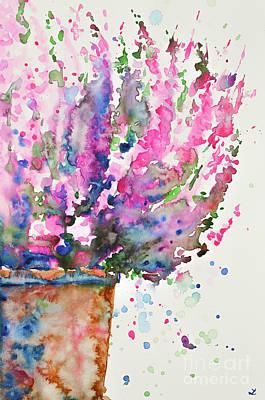 Painting - Pink Heather In The Pot by Zaira Dzhaubaeva