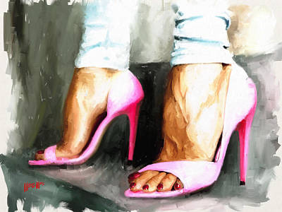 Painting - Pink Heels by Dillan Weems