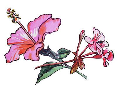 Painting - Pink Hibiscus And Geranium  by Irina Sztukowski