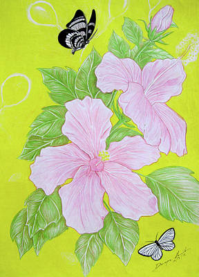 Hand Made Mixed Media - Pink Hibiscus  by Dwayne  Hamilton