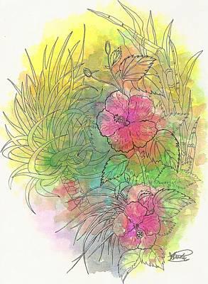 Pink Hibiscus Art Print by George I Perez