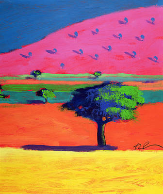 Tree Plantation Painting - Pink Hill  by Paul Powis