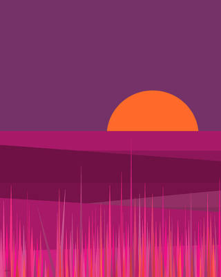 Digital Art - Pink Hills And Big Orange Sun by Val Arie