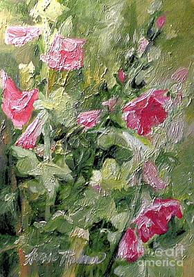 Painting - Pink Hollyhocks by Laurie Rohner
