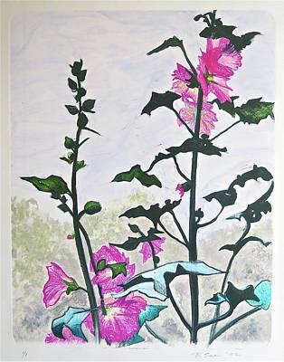 Pink Hollyhocks Monoprint Art Print