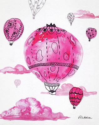 Painting - Pink Hot Air Baloons by Ekaterina Chernova