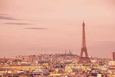 Paris Skyline Royalty-Free and Rights-Managed Images - Pink hour by Delphimages Photo Creations