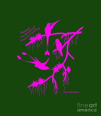 Backwards Painting - Pink Hummingbirds by The one eyed Raven