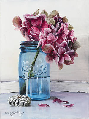 Jars Painting - Pink Hydrangea by Wendy Ballentyne