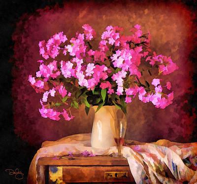 Phlox Mixed Media - Pink In A Pitcher by Marion Daly